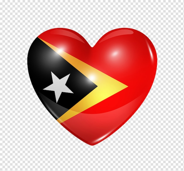 Heart icon with flag of east timor Premium Psd