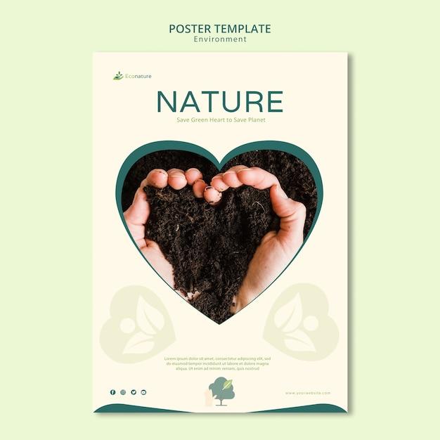 흙 포스터 템플릿의 심장 무료 PSD 파일