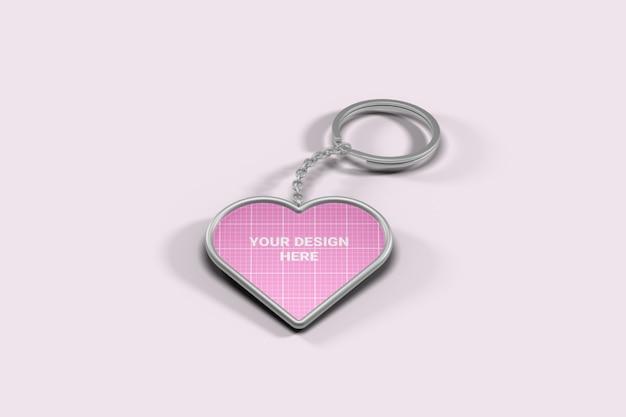 Heart shape keychain mockup Premium Psd