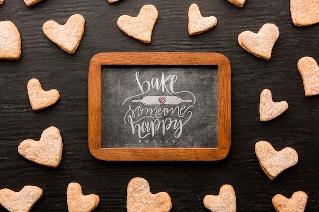 Плоское печенье в форме сердца Premium Psd