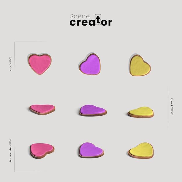 Heart shapes for scene creator Free Psd