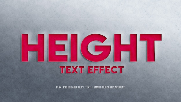 Height 3d text style effect Premium Psd