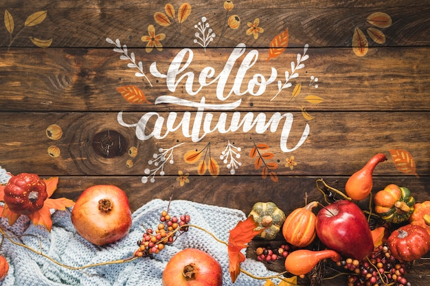 Hello autumn calligraphy with fall food Free Psd