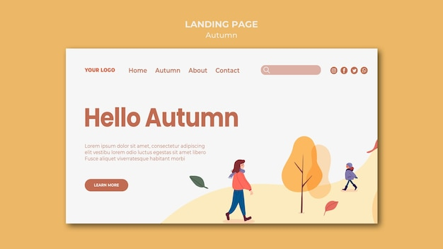 Hello autumn landing page template Free Psd