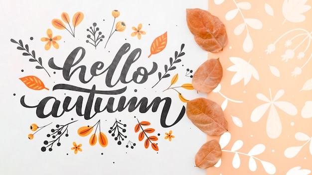 Hello autumn lettering next to brown leaves pattern Premium Psd