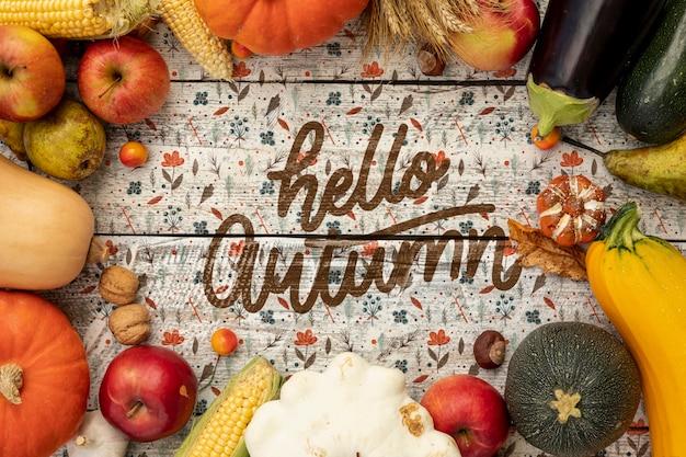 Hello autumn veggies frame top view Free Psd
