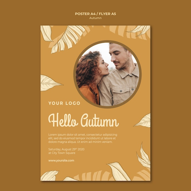 Hello autumn with cute couple poster print template Free Psd