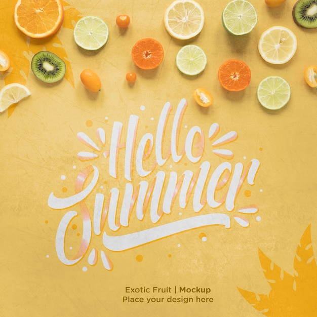 Hello summer concept with exotic fruits Free Psd