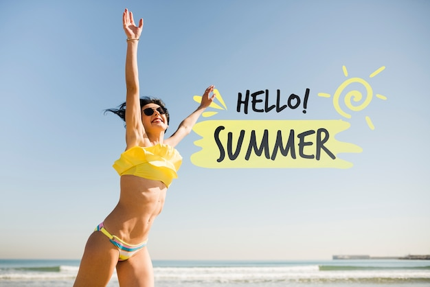 Hello summer  jumping girl mockup Free Psd