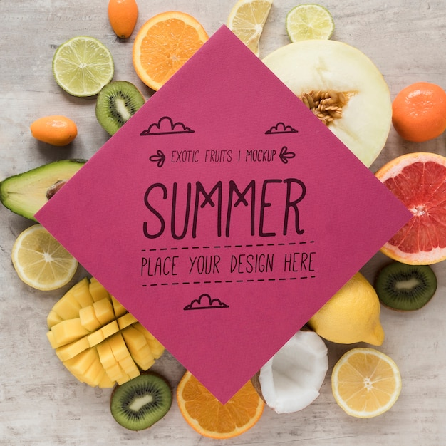 Hello summer with collection of exotic fruits Free Psd