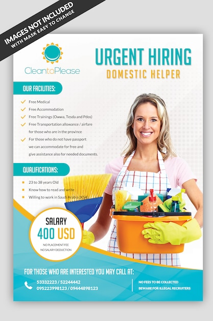 Helper hiring maid flyer Premium Psd