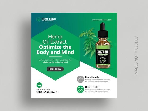 Hemp product social media post template Premium Psd