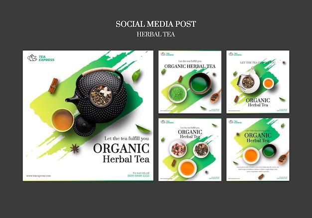 Herbal tea 소셜 미디어 게시물 무료 PSD 파일