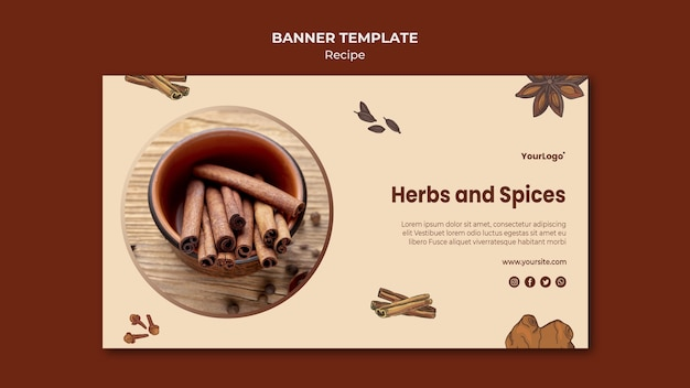 Herbs and spices banner template Free Psd