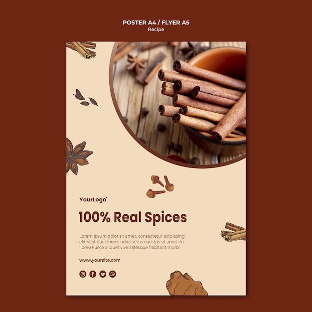 Herbs and spices flyer template Free Psd