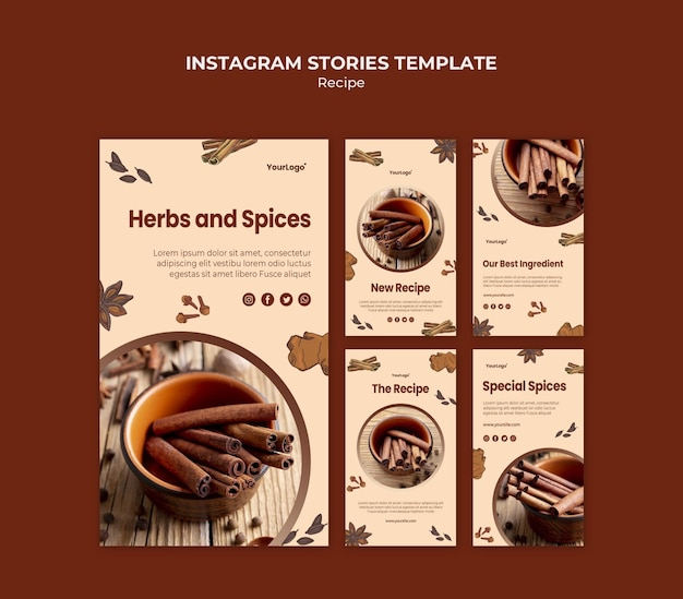 Herbs and spices instagram stories template Free Psd
