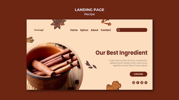 Herbs and spices landing page template Free Psd
