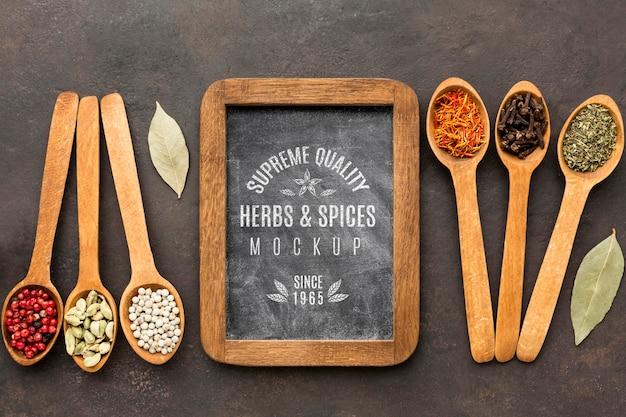 Herbs and spices mock-up flat lay Premium Psd