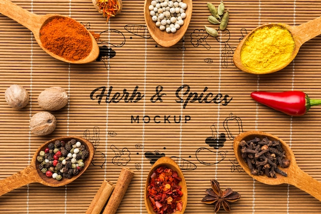 Herbs and spices mock-up surrounded by spoons filled with foodstuff Free Psd