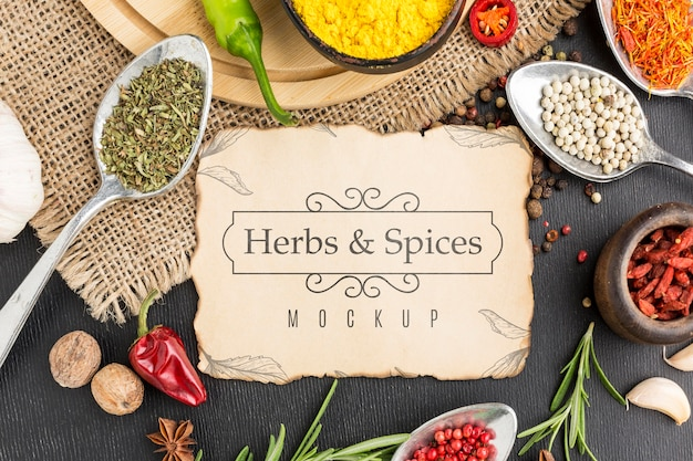 Herbs and spices mock-up top view Premium Psd