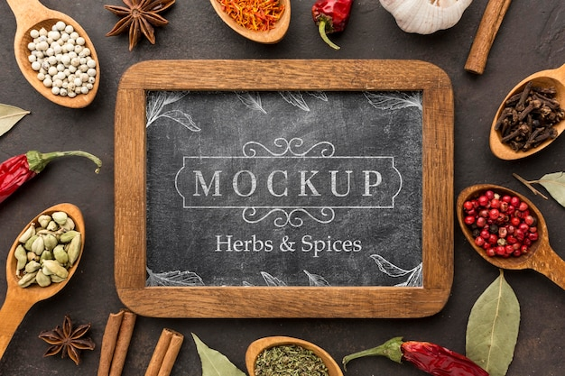 Herbs and spices mock-up above view Free Psd
