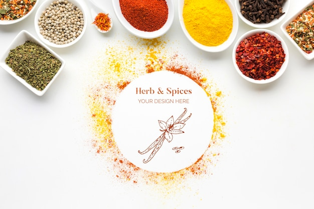 Herbs and spices mock-up with bowls top view Free Psd