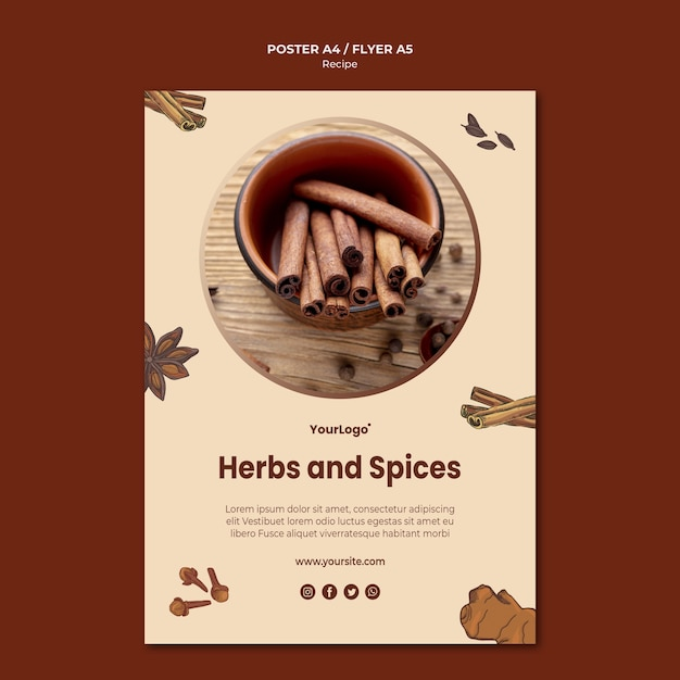 Herbs and spices poster template Free Psd