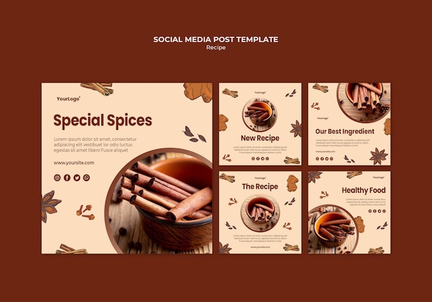 Herbs and spices social media post template Free Psd