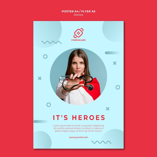 Hero medic with stethoscope poster template Free Psd