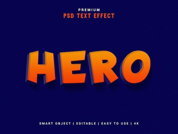 Hero psd text effect, 3d реалистичный шаблон, стиль текста. Premium Psd