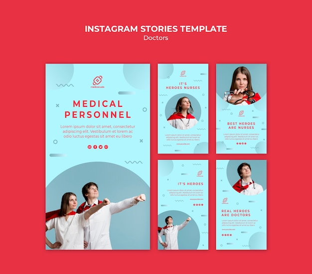 Heroic medical personnel instagram stories Free Psd