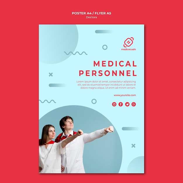 Heroic medical personnel poster template Free Psd
