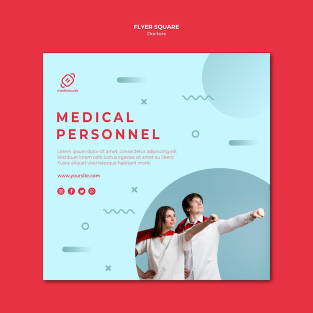 Heroic medical personnel square flyer template Free Psd