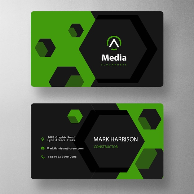 Hexagon shape business card template Free Psd