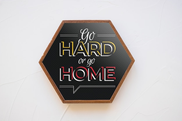 Hexagonal frame mockup with quote concept Free Psd