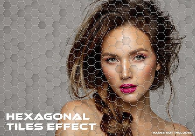 Hexagonal tiles photo effect mockup
