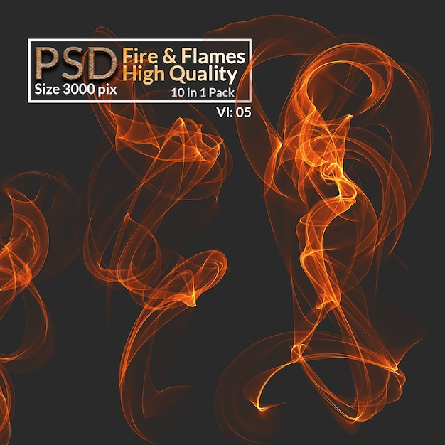 Hi-res isolated fire flames Premium Psd