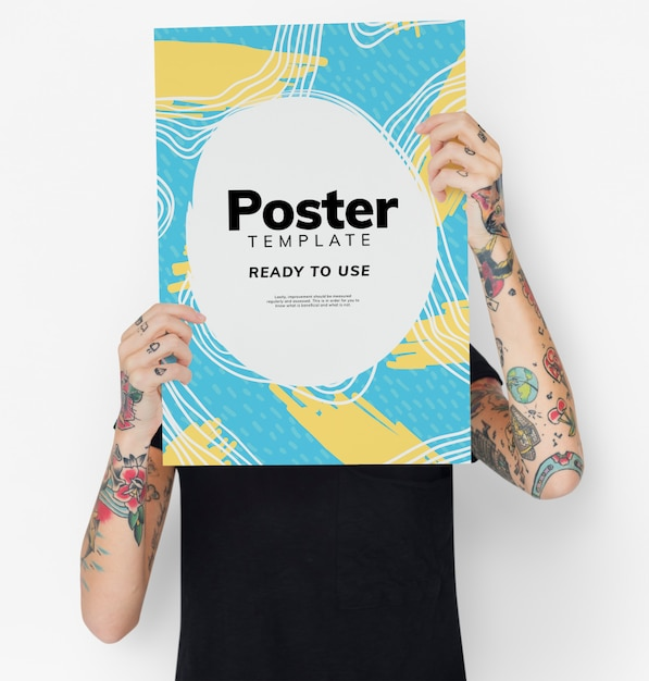 Hiding behind a colorful poster mockup Free Psd