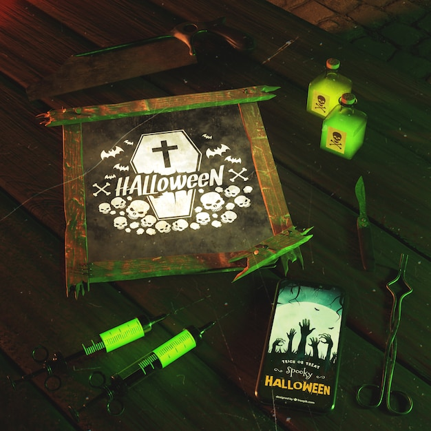 High angle arrangement for halloween event with green light Free Psd