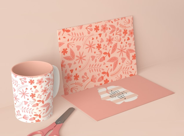 High angle arrangement for mother's day with card scene creator Free Psd