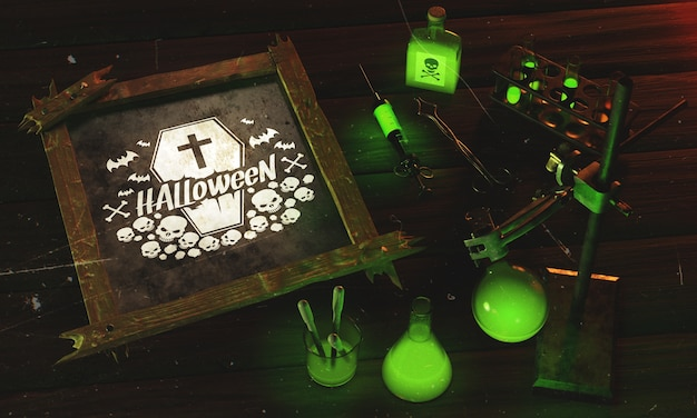 High angle frame for halloween with green light Free Psd