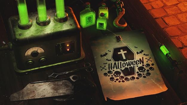 High angle halloween arrangement with green neon light Free Psd