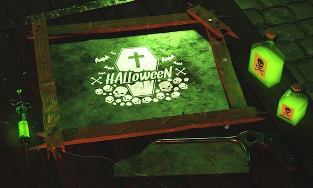 High angle halloween concept with green light Free Psd