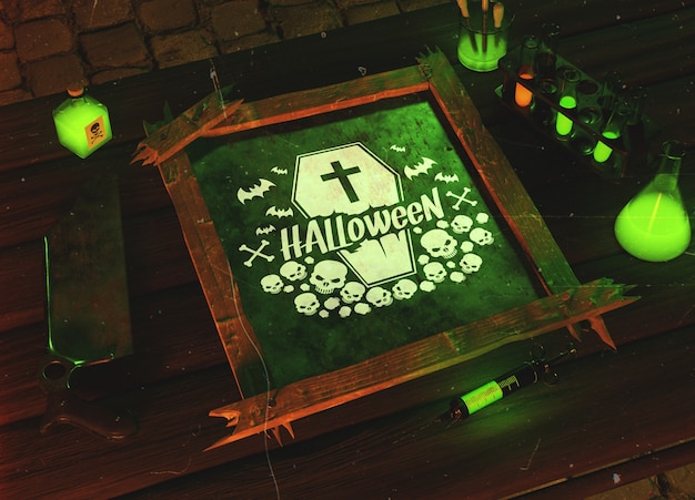 High angle halloween green horror concept Free Psd