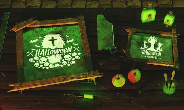 High angle halloween with green light Free Psd