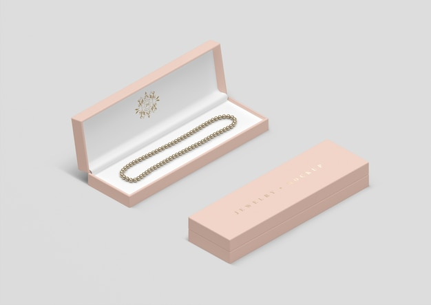 High angle jewelry box with pearl necklace Free Psd