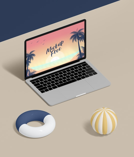 High angle laptop on table Free Psd
