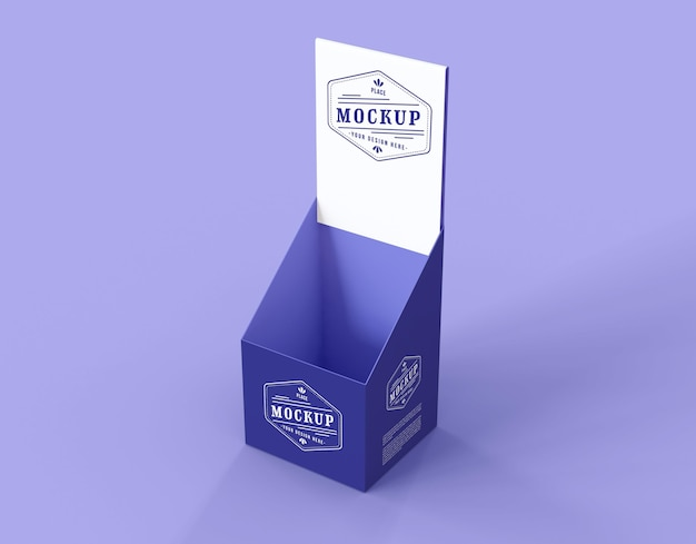 High angle minimalist purple exhibitor mock-up Free Psd