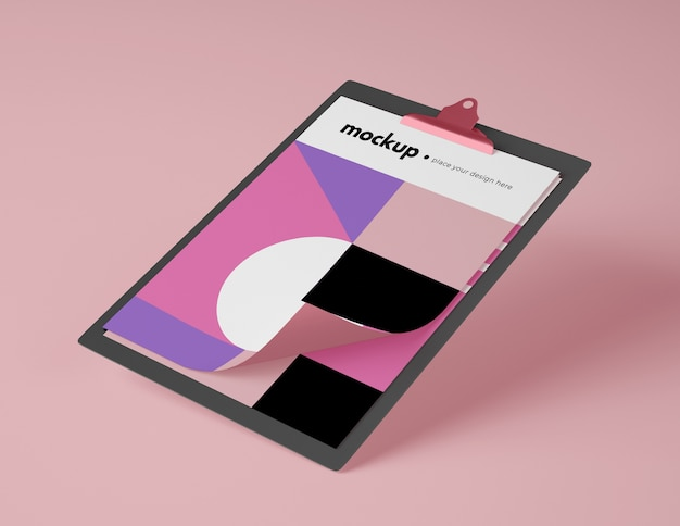 High angle of mock-up notepad with paper Free Psd
