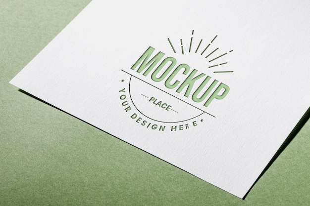 High angle of mock-up textured paper card for business Free Psd